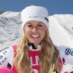 Profile picture of ski champion Chemmy Alcott set against the backdrop of a snow clad mountain